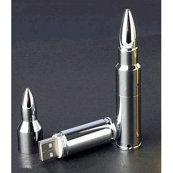 Silver Metal Bullet Shape USB 2.0 Memory Flash Stick Pen Drive