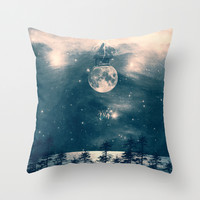 One Day I Fell from My Moon Cottage... Throw Pillow by Paula Belle Flores