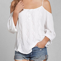 White Spaghetti Strap Long Sleeve Loose Fitting Chiffon Blouse