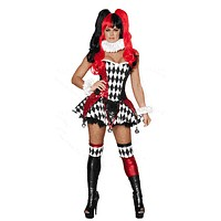 Sexy Slimming Sequins Court Jester Girl Halloween Costume