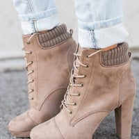 Christopher Lace Up Booties (Taupe)