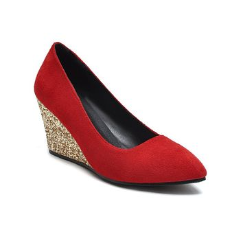 Slope-heeled High-heeled Shallow-mouth Size 33-43 Wedges Shoes Women