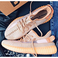 Adidas Yeezy Boost 350 V2 Popular Women Men Breathable Sport Running Shoes Sneakers Orange&Khaki