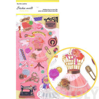 Colorful Measuring Tape Sewing Machine Bobby Pins Shaped Stickers   Cute Seamstress Fashion Sewing Themed Scrapbook Decorating Supplies