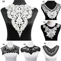 Fabric Lace Charming Flowers Collar Trim White Polyester Sewing Applique Craft [8270520513]