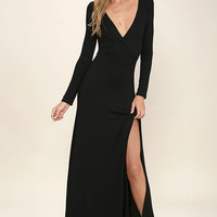 Wishing Well Black Long Sleeve Maxi Dress