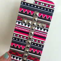 Pink Aztec Tribal Silver Dotted Cross Studded iPhone 5 5G Phone Case