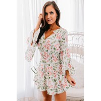 Lovely Afternoon Floral Tiered Dress (White)