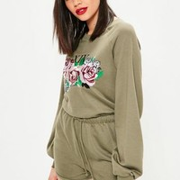 Missguided - Khaki Rose Embroidered Loopback Playsuit
