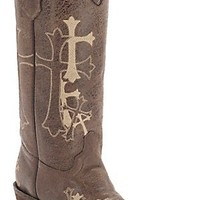 Corral® Circle G™ Women's Distressed Brown w/Beige Cross Embroidery Snip Toe Western Boots
