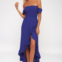 Wild Hearts Royal Blue Off-the-Shoulder Dress