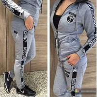 ''MOSCHINO'' Fashion Women Casual Print Zipper Hoodie Two Piece Sportswear Grey I