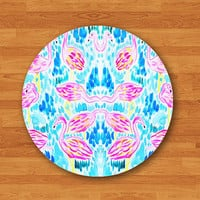 Symmetric Beautiful Flamingo Bird Mouse Pad Drawing Pink and Blue Water Cute MousePad Rectangle Matt Personalized Gift Desk Deco Boss Gift
