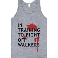 in training to fight off walkers-grey tank top-jh-Tank