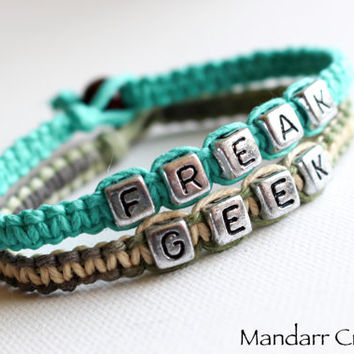 Teal and Camo Freak and Geek Bracelets for Couples or Best Friends, Hand Knotted Macrame Hemp Jewelry, Valentines Day Gift
