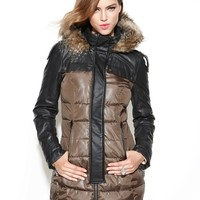 Circus by Sam Edelman Coat, Hooded Faux-Leather Mixed-Media Puffer