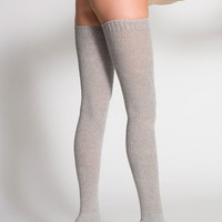 rsaskth6 - Heather Solid Thigh-High Socks