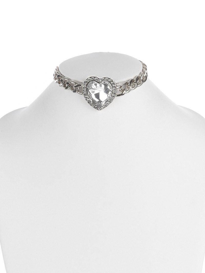 """Image of 12"""" crystal heart curb chain pendant necklace"""
