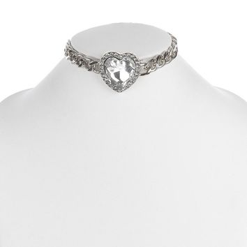 """12"""" crystal heart curb chain pendant necklace"""