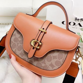 COACH New fashion pattern print shoulder Bag handbag women crossbody bag saddle bag Brown