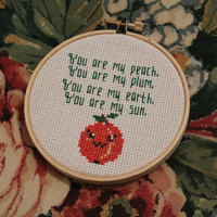 The Front Bottoms - Peach Cross Stitch Ornament