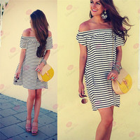 Hot Popular 2017 Trending Fashion Summer Stripes Printed Sexy Loose Off Shoulder Boat Neckline Erotic One Piece Dress _ 11818