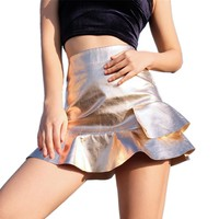Women Rose Gold Leather Mini Skirt