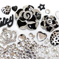 DIY 3D Bling Cell Phone Case Deco Kit: Black Rhinestone Floral and Cabochons. S4 Cases Sold out, Orders with s4 will not be met
