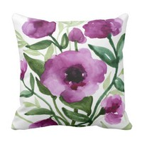 Botanical - Watercolor Flowers Pillow