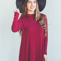 Long Sleeve Mock Neck Dress in Burgundy