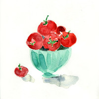 Tomatoes in mint bowl Archival print of my original watercolor painting in Red and mint green limited edition, kitchen decor