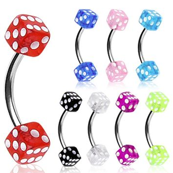 316L Surgical Steel Curved Barbell / Eyebrow Ring with UV Coated Acrylic Dice Balls