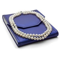 """Sterling Silver 2 Rows 8-8.5mm White Freshwater Cultured High Luster Pearl Necklace, 17"""""""