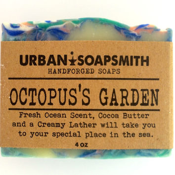 Octopus's Garden - Ocean Rain Scent, Cold Process Soap, Cocoa Butter Soap, Homemade soap, Bar Soap, Men's Soap, Unisex Soap