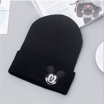 Mickey Mouse Beanie Unisex Warm Winter High Quality Lovely Womens & Mens Knitted Ski Cap Black Cuffed Skully Hat