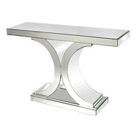 Lazy Susan Mirrored Console Table - 114172