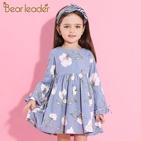 Bear Leader Girls Dress 2017 New Autumn Brand Princess Dress Petal Sleeve Flowers Print Design Children Clothes For 3-9 Years