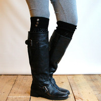 LouLou - Black : Open-work Knit Leg Warmers with Antique Silver Metal Buttons - Legwarmers (item no.9-2)