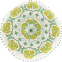 Boho Mint Round Embroidered Pillow
