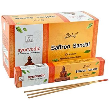 Balaji Saffron Sandal Incense - 15 Gram Pack (12 Packs Per Box)