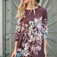 Bellamie 3/4 sleeve floral print dress