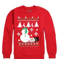Neff Ugly Sweater Crew Fleece - Mens Hoodie - Red