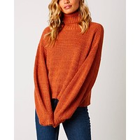 Boxy Turtle Neck Dropped Shoulder Sweater with Balloon Sleeves in Rust