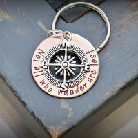 Not All Who Wander Are Lost Key Chain with Compass and Charm - copper - Hand stamped Key chain - Keychains & Lanyards - Comapass - Wander