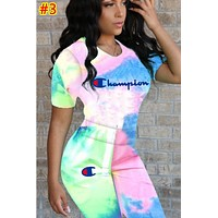 Champion tide brand women's gradient letter printing short sleeve sports suit two-piece #3