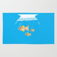 Three Goldfishes In a Water Bowl Rug by ES Creative Designs