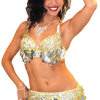 Sequin Beaded Belly Dance Bra with Paillettes - SILVER / GOLD