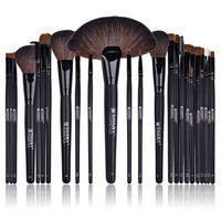 24 Cosmetic Makeup Brush Set w/Leather Pouch