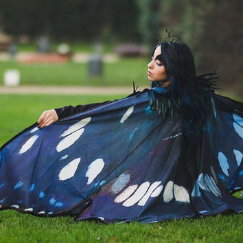 Blue Butterfly Fairy cape cloak blue and black isis wings costume adult