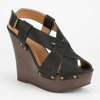 Qupid Kendall Womens Wedges Black  In Sizes